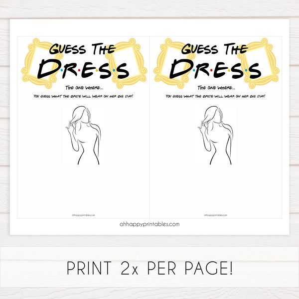 guess the dress game, Printable bridal shower games, friends bridal shower, friends bridal shower games, fun bridal shower games, bridal shower game ideas, friends bridal shower