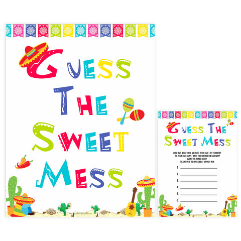 guess the sweet mess game, Printable baby shower games, Mexican fiesta fun baby games, baby shower games, fun baby shower ideas, top baby shower ideas, fiesta shower baby shower, fiesta baby shower ideas