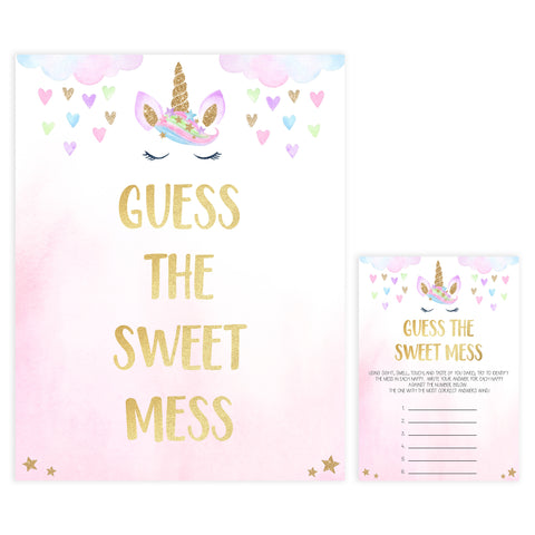 guess the sweet mess game, Printable baby shower games, unicorn baby games, baby shower games, fun baby shower ideas, top baby shower ideas, unicorn baby shower, baby shower games, fun unicorn baby shower ideas