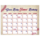 guess the baby birthday game, baby birthday predictions game, printable baby shower games, baseball baby shower theme, little slugger baby shower, baseball baby shower ideas