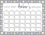 Grey Yellow Stars Baby Birthday Prediction Game, Guess The Baby Birthday Game, Baby Shower Games, Grey Stars Guess Baby Birthday Game, printable baby shower games, fun baby games