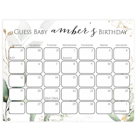 guess the baby birthday game, baby birthday predictions game, printable baby shower games, gold leaf baby games, greenery baby shower