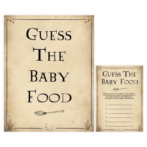Guess The Baby Food Game, Wizard baby shower games, printable baby shower games, Harry Potter baby games, Harry Potter baby shower, fun baby shower games,  fun baby ideas