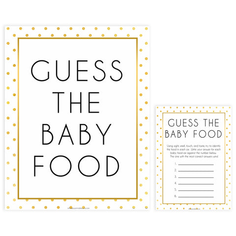 guess the baby food game, Printable baby shower games, baby gold dots fun baby games, baby shower games, fun baby shower ideas, top baby shower ideas, gold glitter shower baby shower, friends baby shower ideas