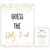 Gold Glitter Baby Shower Guess The Baby Food, Gold Glitter Baby Shower Guess The Baby Food, Baby Shower Games, Guess The Baby Food , amazing baby shower games