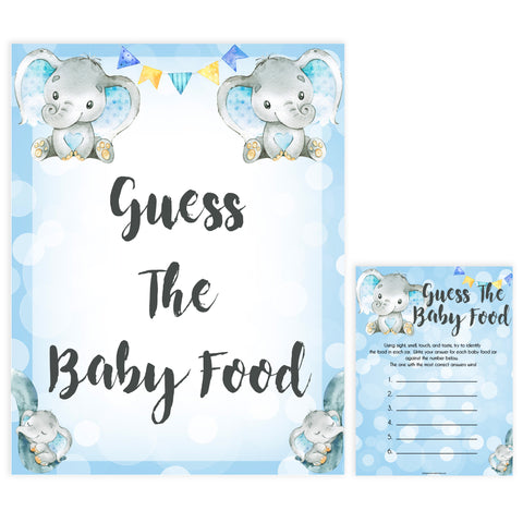Blue elephant baby games, guess the baby food, elephant baby games, printable baby games, top baby games, best baby shower games, baby shower ideas, fun baby games, elephant baby shower
