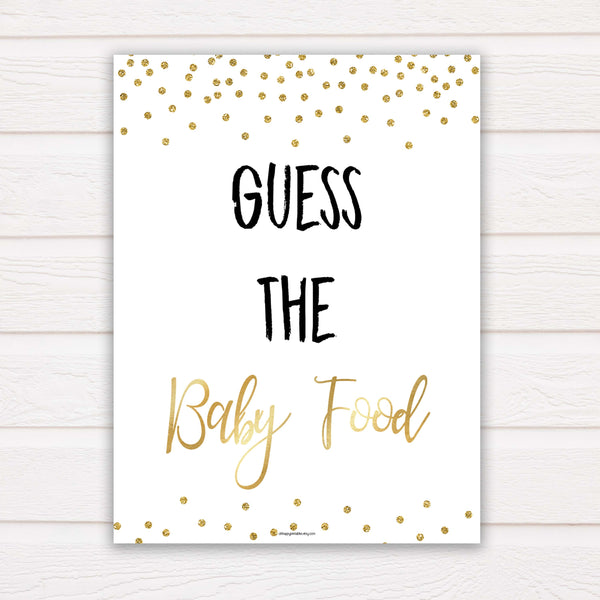 Gold Glitter Baby Shower Guess The Baby Food, Gold Glittter Baby Shower Guess The Baby Food, Baby Shower Games, Guess The Baby Food , amazing baby shower games