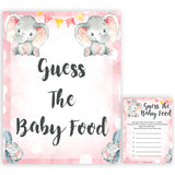 pink elephant baby games, guess the baby food baby shower games, printable baby shower games, baby shower games, fun baby games, popular baby games, pink baby games