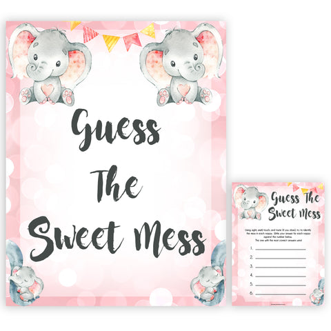 pink elephant baby games, guess the sweet mess baby shower games, printable baby shower games, baby shower games, fun baby games, popular baby games, pink baby games