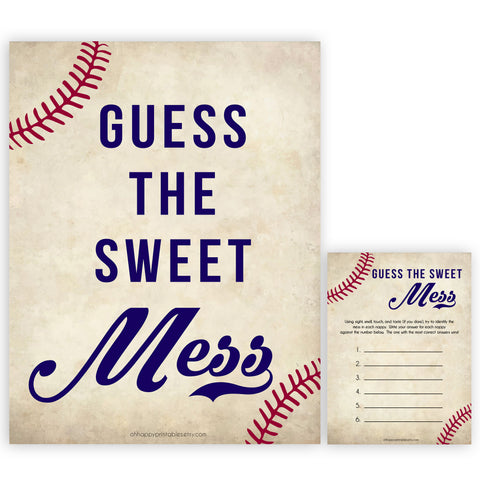 Baseball Baby Shower Guess The Mess Game, Baseball Baby Shower Guess The Sweet Mess, Baby Shower Games, Guess The Mess, Fun Baby Games, printable baby shower games, fun baby shower games, popular baby shower games