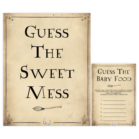 Guess The Sweet Mess Baby Game, Wizard baby shower games, printable baby shower games, Harry Potter baby games, Harry Potter baby shower, fun baby shower games,  fun baby ideas