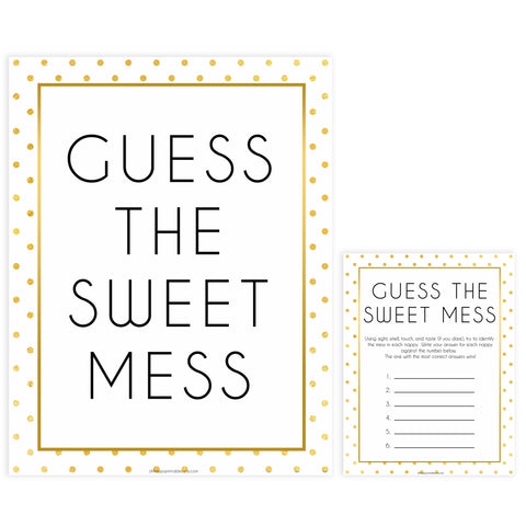guess the sweet mess game, Printable baby shower games, baby gold dots fun baby games, baby shower games, fun baby shower ideas, top baby shower ideas, gold glitter shower baby shower, friends baby shower ideas
