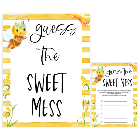 guess the sweet mess game, Printable baby shower games, mommy bee fun baby games, baby shower games, fun baby shower ideas, top baby shower ideas, mommy to bee baby shower, friends baby shower ideas