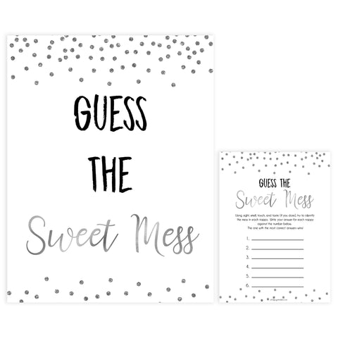 guess the sweet mess, dirty diaper game, Printable baby shower games, baby silver glitter fun baby games, baby shower games, fun baby shower ideas, top baby shower ideas, silver glitter shower baby shower, friends baby shower ideas