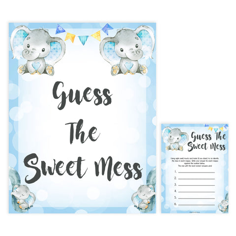 Blue elephant baby games, guess the sweet mess, elephant baby games, printable baby games, top baby games, best baby shower games, baby shower ideas, fun baby games, elephant baby shower