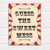 Circus guess the sweet mess baby shower games, circus baby games, carnival baby games, printable baby games, fun baby games, popular baby games, carnival baby shower, carnival theme