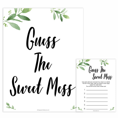 Botanical Baby Shower Guess The Mess Game, Greenery Baby Shower Guess The Sweet Mess, Baby Shower Games, Guess The Mess, Baby Games