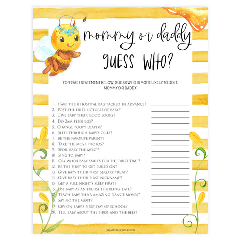 guess who mommy or daddy game, Printable baby shower games, mommy bee fun baby games, baby shower games, fun baby shower ideas, top baby shower ideas, mommy to bee baby shower, friends baby shower ideas