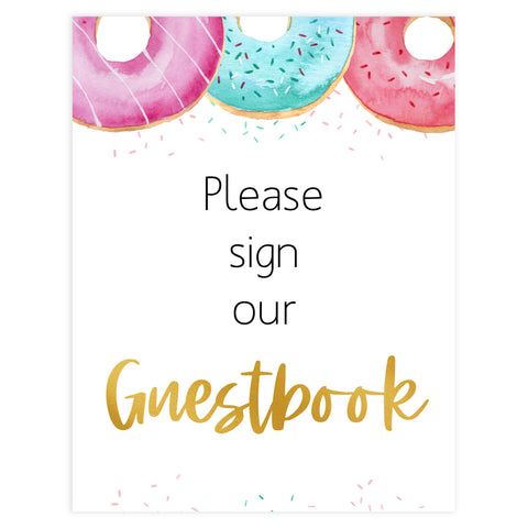 guestbook baby shower table sign, Donut baby decor, printable baby table signs, printable baby decor, baby sprinkles table signs, fun baby signs, baby donut fun baby table signs