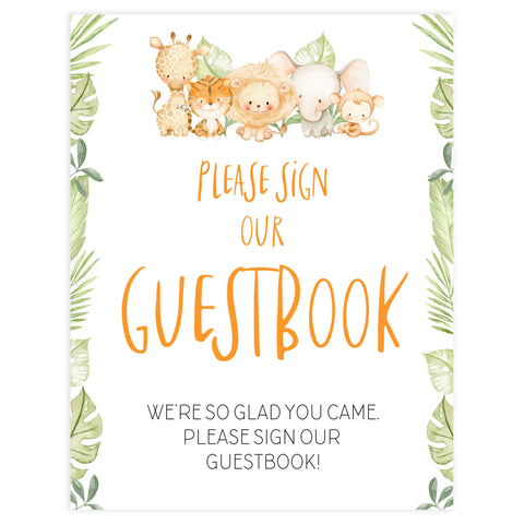 guestbook baby shower table sign, Safari animals baby decor, printable baby table signs, printable baby decor, baby safari animals table signs, fun baby signs, baby safari animals fun baby table signs