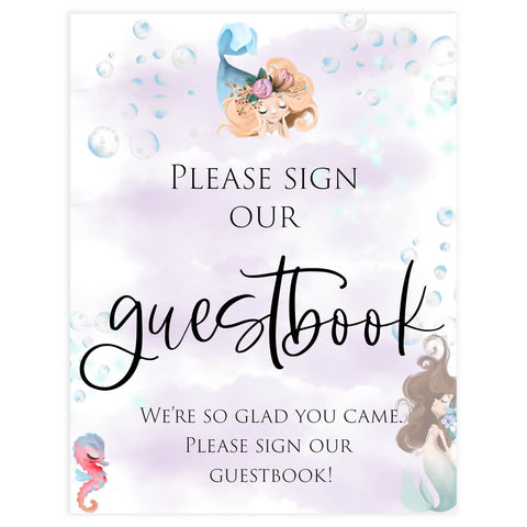 guestbook baby shower table signs, Little mermaid baby decor, printable baby table signs, printable baby decor, baby little mermaid table signs, fun baby signs, baby little mermaid fun baby table signs