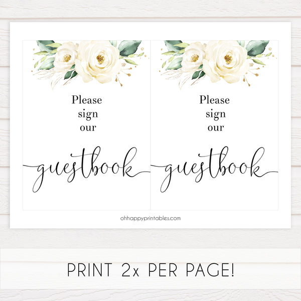 guestbook baby shower table sign, Printable baby shower games, shite floral baby games, baby shower games, fun baby shower ideas, top baby shower ideas, floral baby shower, baby shower games, fun floral baby shower ideas