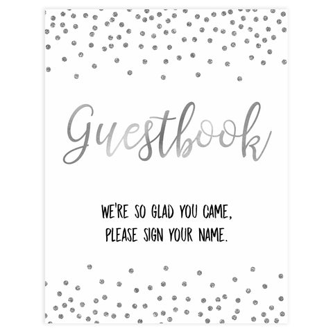 Guestbook baby sign, guestbook baby table signs, Baby silver glitter baby decor, printable baby table signs, printable baby decor, baby silver glitter table signs, fun baby signs, baby silver fun baby table signs
