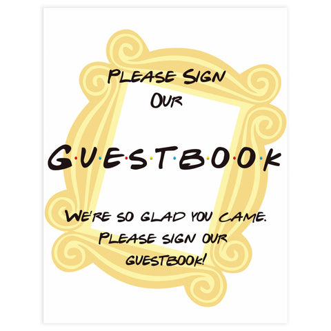 guestbook baby table signs, Friends baby decor, printable baby table signs, printable baby decor, friends table signs, fun baby signs, friends fun baby table signs
