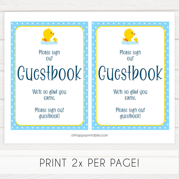 rubber ducky baby shower games, guestbook sign, printable baby decor, fun baby shower ideas, printable baby signs