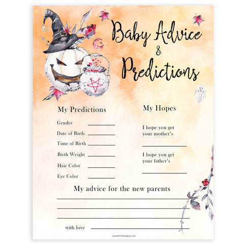 Halloween pumpkin baby games, baby advice and predictions baby games, printable baby games, best baby games, top baby games halloween baby shower, halloween baby ideas, best baby games