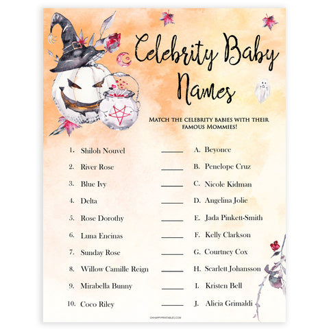 Halloween pumpkin baby games, celebrity baby names baby games, printable baby games, best baby games, top baby games halloween baby shower, halloween baby ideas, best baby games