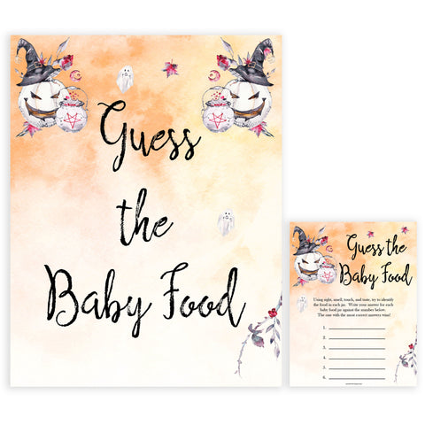 Halloween pumpkin baby games, guess the baby food baby games, printable baby games, best baby games, top baby games halloween baby shower, halloween baby ideas, best baby games