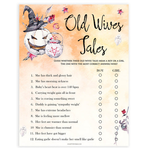 Halloween pumpkin baby games, Old Wives Tales baby games, printable baby games, best baby games, top baby games halloween baby shower, halloween baby ideas, best baby games