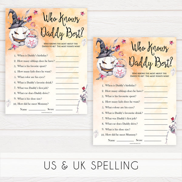 Halloween pumpkin baby games, who knows daddy best baby games, printable baby games, best baby games, top baby games halloween baby shower, halloween baby ideas, best baby games