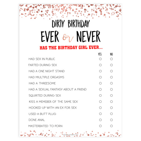 dirty birthday ever or never game, ever or never birthday game, printable birthday games, adult birthday games