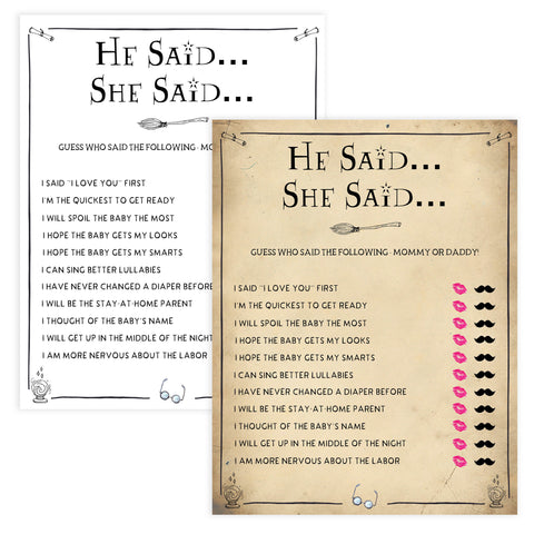 He Said She Said Baby Game, Wizard baby shower games, printable baby shower games, Harry Potter baby games, Harry Potter baby shower, fun baby shower games,  fun baby ideas
