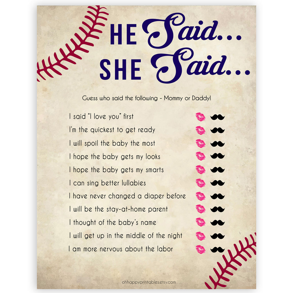 image relating to He Said She Said Bridal Shower Game Free Printable identify He Stated She Mentioned - Baseball Printable Youngster Shower Video games