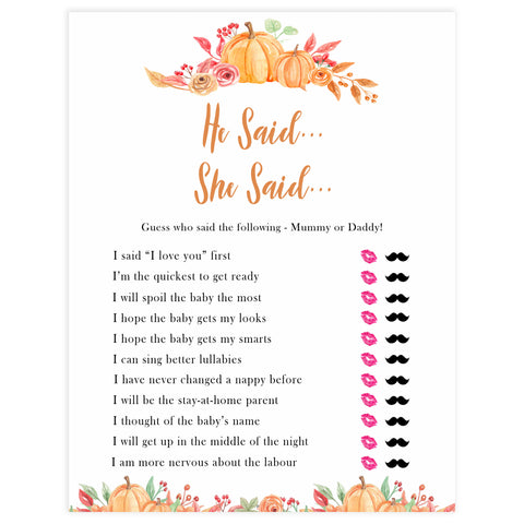 Fall pumpkin baby games, he said she said, printable baby games, fall baby shower, pumpkin baby shower, autumnal baby games, top 10 baby games, best baby games