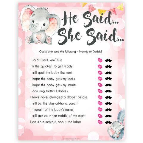 pink elephant baby games, he said she said baby shower games, printable baby shower games, baby shower games, fun baby games, popular baby games, pink baby games