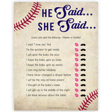 Baseball He Said She Said Baby Shower Game, Baby Shower, Who Said What Game, Fun Baby Shower Games, Baby Shower Games, He Said She, printable baby shower games, fun baby shower games, popular baby shower games