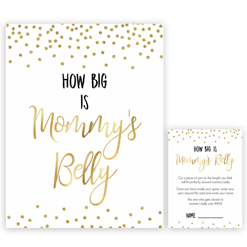 How Big Is Mommys Belly Gold Glitter Printable Baby Shower Games