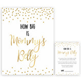 How Big Is Mommy's Belly in Gold Confetti, Mommys Belly Game, Baby Shower Games, Gold Baby Games, Guess Mommys Belly, Funny Baby Games