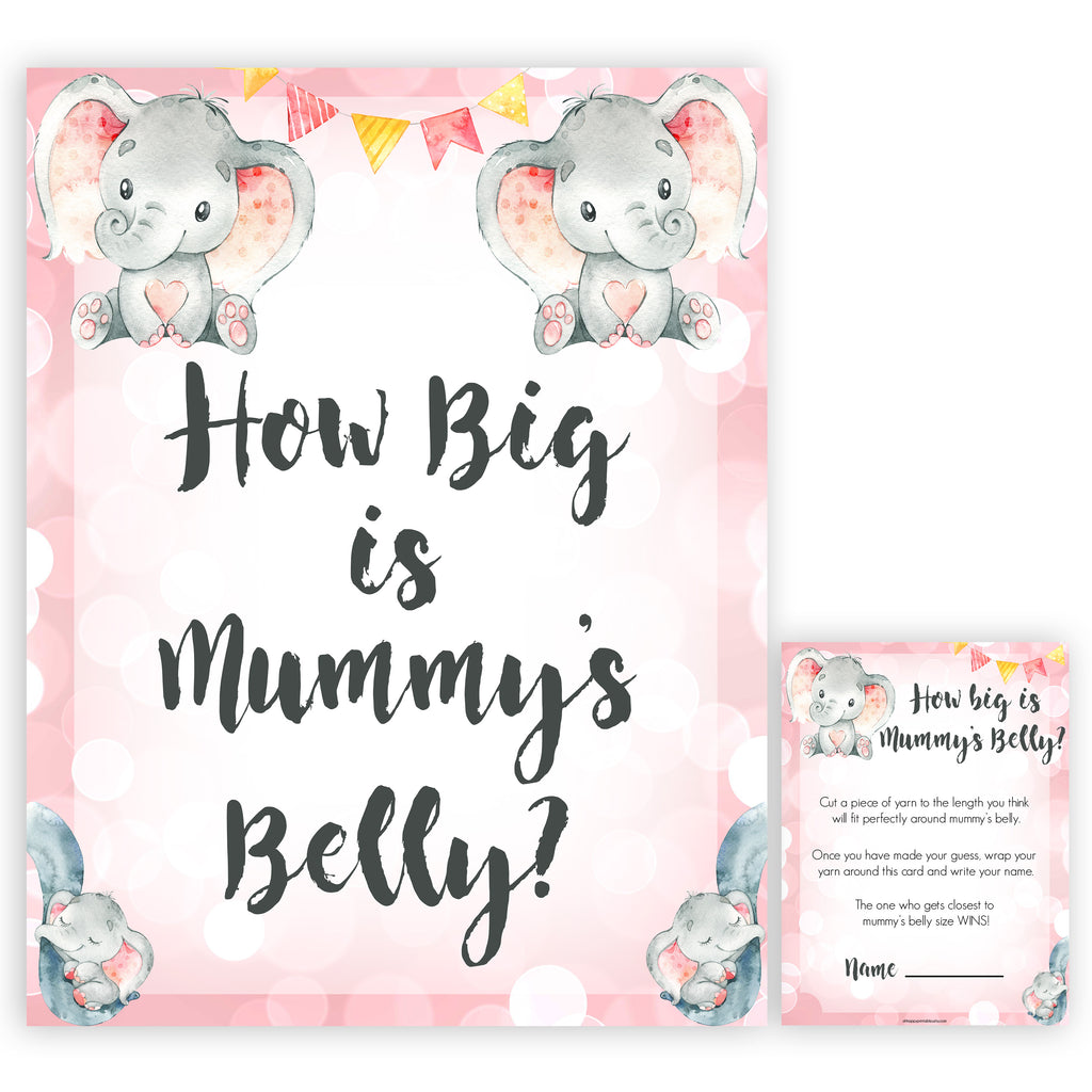 photo about Printable Elephant Baby Shower named How substantial is Mommys Abdomen - Purple Elephant Printable Boy or girl
