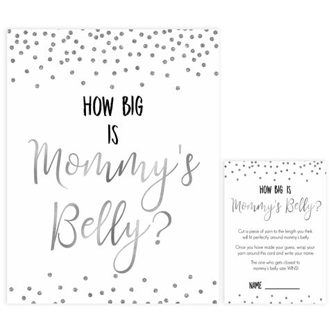 how big is mommys belly, mommys belly game, Printable baby shower games, baby silver glitter fun baby games, baby shower games, fun baby shower ideas, top baby shower ideas, silver glitter shower baby shower, friends baby shower ideas