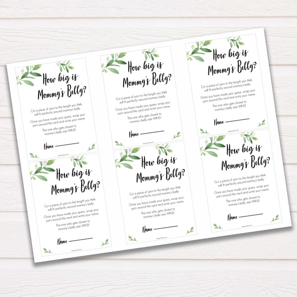 Botanical How Big Is Mommy's Belly, Mommys Belly Game, Baby Shower Games, Greenery Baby Games, Green Guess Mommys Belly, Baby Games