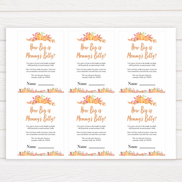 Fall pumpkin baby games, how big is mommys belly, how big is mummys belly, printable baby games, fall baby shower, pumpkin baby shower, autumnal baby games, top 10 baby games, best baby games