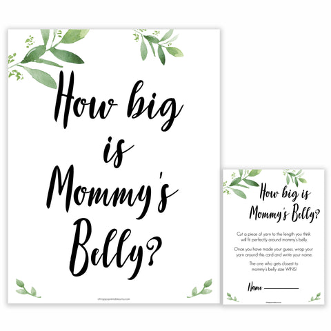 Botanical How Big Is Mommy's Belly, Mommys Belly Game, Baby Shower Games, Greenery Baby Games, Green Guess Mommys Belly, Baby Games, printable baby games