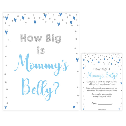 How big is mommys belly, Printable baby shower games, small blue hearts fun baby games, baby shower games, fun baby shower ideas, top baby shower ideas, silver baby shower, blue hearts baby shower ideas