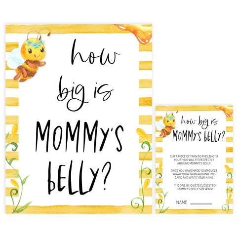 how big is mommys belly game, Printable baby shower games, mommy bee fun baby games, baby shower games, fun baby shower ideas, top baby shower ideas, mommy to bee baby shower, friends baby shower ideas