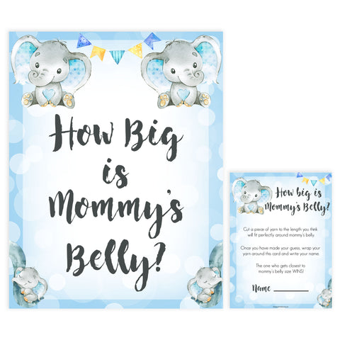 Blue elephant baby games, how big is mommys belly, elephant baby games, printable baby games, top baby games, best baby shower games, baby shower ideas, fun baby games, elephant baby shower